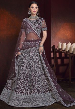 Embroidered Net Lehenga in Wine