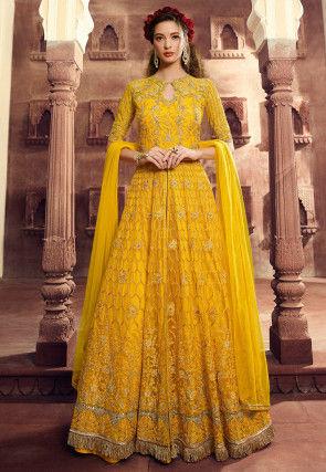 Embroidered Net Lehenga in Yellow
