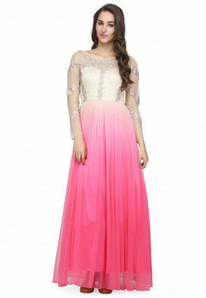 Embroidered Net Maxi Dress in Shaded Pink and White