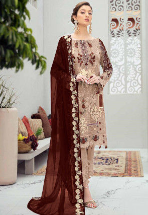 Embroidered Net Pakistani Suit in Beige