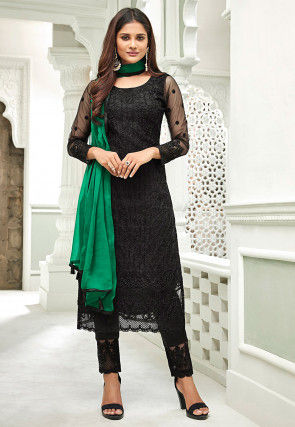 Embroidered Net Pakistani Suit in Black
