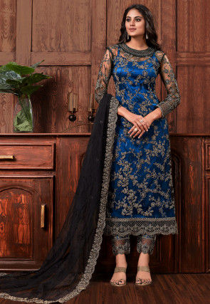 Embroidered Net Pakistani Suit in Dark Blue