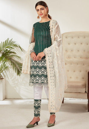 Embroidered Net Pakistani Suit in Dark Green
