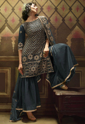 Embroidered Net Pakistani Suit in Dark Grey