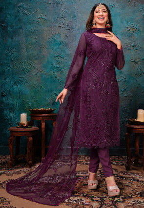 Embroidered Net Pakistani Suit in Dark Purple