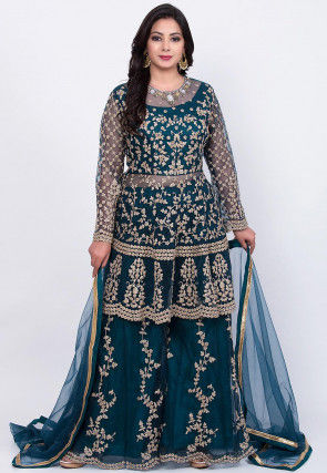 Embroidered Net Pakistani Suit in Dark Teal Blue