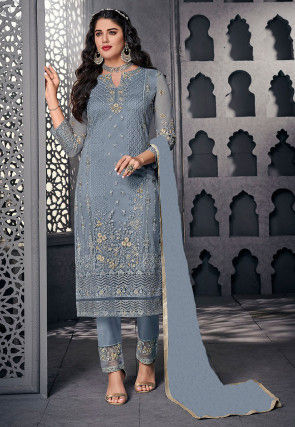 Embroidered Net Pakistani Suit in Dusty Blue