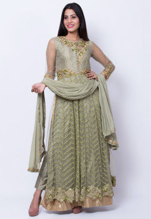Embroidered Net Pakistani Suit in Dusty Olive Green