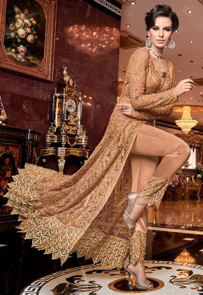 Embroidered Net Pakistani Suit in Dusty Peach