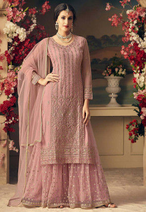 Embroidered Net Pakistani Suit in Dusty Pink