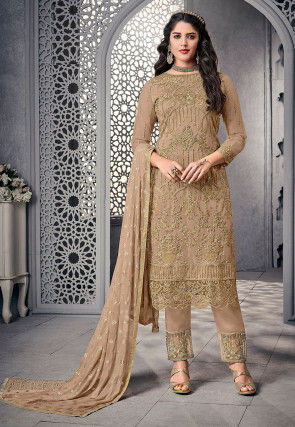 Embroidered Net Pakistani Suit in Fawn