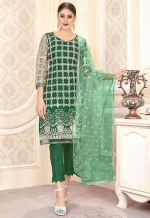 Embroidered Net Pakistani Suit in Green