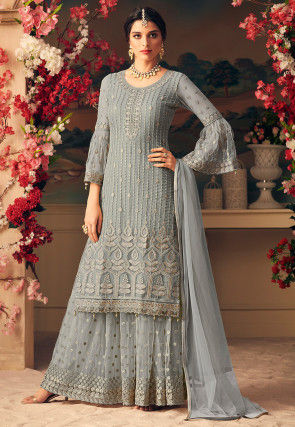 Embroidered Net Pakistani Suit in Grey