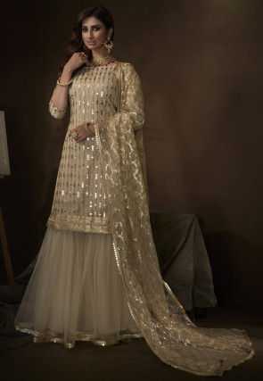 Embroidered Net Pakistani Suit in Light Beige