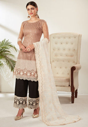 Embroidered Net Pakistani Suit in Light Brown