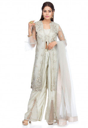 Embroidered Net Pakistani Suit in Light Dusty Green