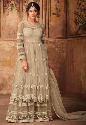 Embroidered Net Pakistani Suit in Light Fawn