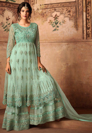 Embroidered Net Pakistani Suit in Light Green