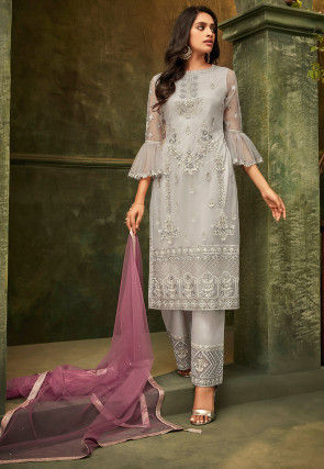 Embroidered Net Pakistani Suit in Light Grey