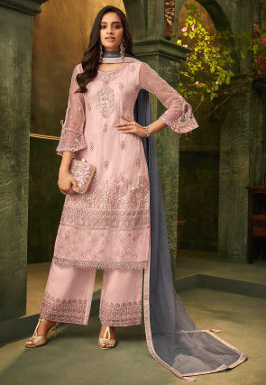 Embroidered Net Pakistani Suit in Light Pink