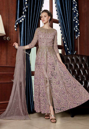 Embroidered Net Pakistani Suit in Lilac