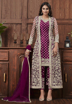 Embroidered Net Pakistani Suit in Magenta