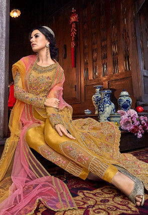 Embroidered Net Pakistani Suit in Mustard