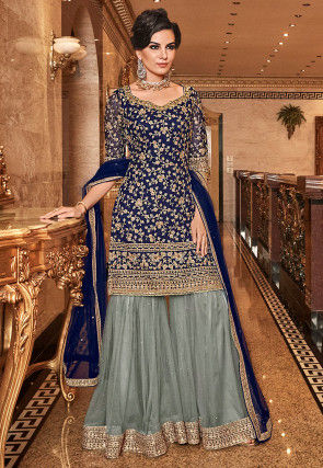 Embroidered Net Pakistani Suit in Navy Blue