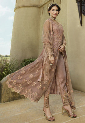 Embroidered Net Pakistani Suit in Old Rose