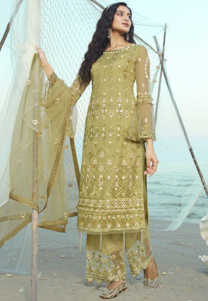 Embroidered Net Pakistani Suit in Olive Green