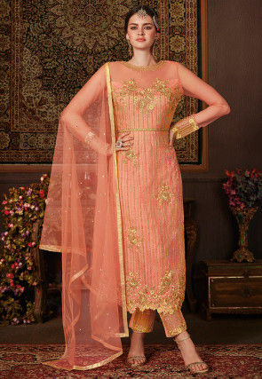 Embroidered Net Pakistani Suit in Orange