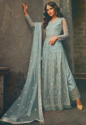 Embroidered Net Pakistani Suit in Pastel Blue