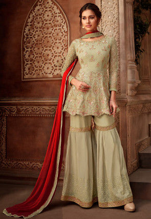 Embroidered Net Pakistani Suit in Pastel Green