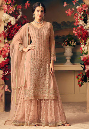 Embroidered Net Pakistani Suit in Peach