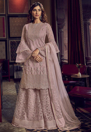 Embroidered Net Pakistani Suit in Pink