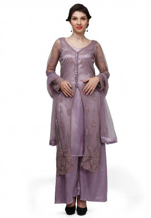 Embroidered Net Pakistani Suit in Purple