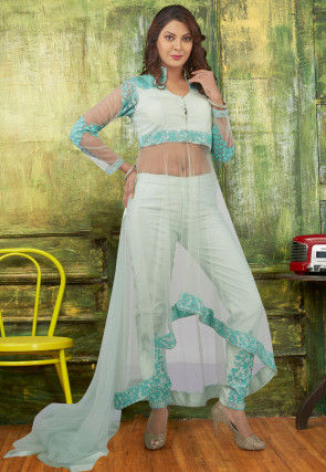 Embroidered Net Asymmetric Pakistani Suit in Sea Green