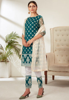Embroidered Net Pakistani Suit in Teal Blue