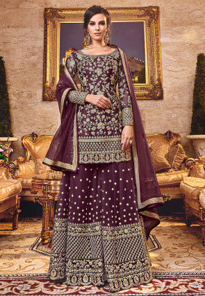 Embroidered Net Pakistani Suit in Wine
