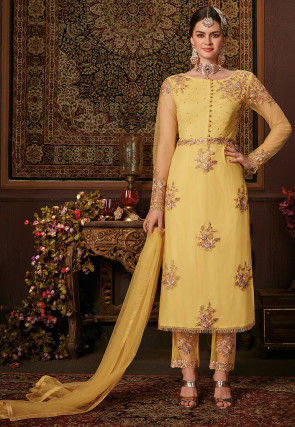 Embroidered Net Pakistani Suit in Yellow