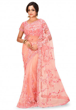 Embroidered Net Pre-stitched Saree in Peach