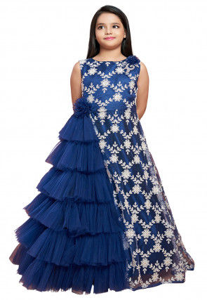 Embroidered Net Ruffled Gown in Navy Blue