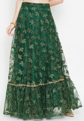Embroidered Net Ruffled Hemline Long Skirt in Green