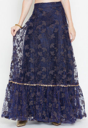 Embroidered Net Ruffled Hemline Long Skirt in Navy Blue
