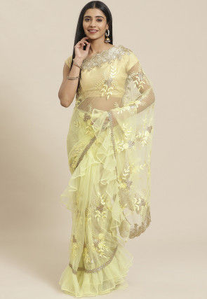 Embroidered Net Ruffled Saree in Light Yellow