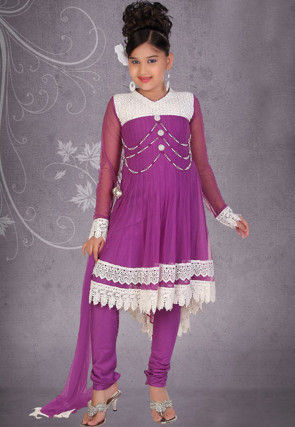 Embroidered Net Salwar Set in Purple