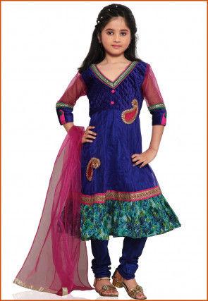 Embroidered Net Salwar Set in Royal Blue