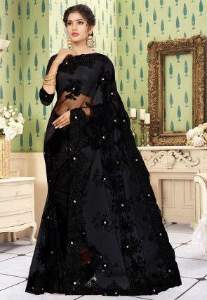 Embroidered Net Saree in Black
