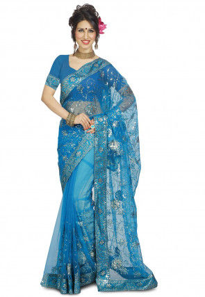 Embroidered Net Saree in Blue
