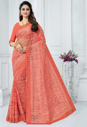 Embroidered Net Saree in Dark Peach